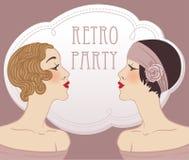 Twee vin retro meisjes stock illustratie