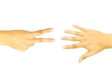 Twee vingerhand en open hand Stock Foto's