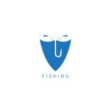Twee vissen en haak in het schild vectorontwerp Royalty-vrije Stock Afbeelding
