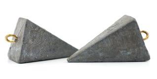 Twee visserij zink zinkloden Stock Foto