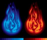 Twee vlammen Royalty-vrije Stock Foto's