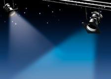 Twee vlekken van licht op een dromerige blauwe achtergrond Royalty-vrije Stock Afbeeldingen