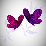 Twee vliegende vlinders Vector illustratie Stock Foto's