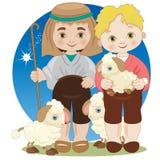 Twee voederbakherders met schapen royalty-vrije illustratie