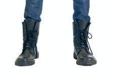 Twee voet in grote laarzen Stock Afbeelding