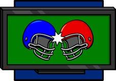 Twee voetbalhelmen die in een televisie in botsing komen Stock Foto's