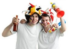 Twee voetbalventilators Royalty-vrije Stock Afbeeldingen