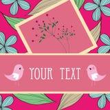 Twee vogels en bloemontwerp van het kaartpatroon Stock Afbeelding