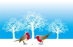 Twee vogels en een bes Royalty-vrije Stock Afbeeldingen