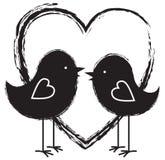Twee vogels en hart stock illustratie
