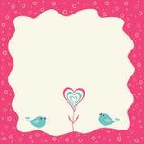Twee vogels en hart bloeien in een retro frame Stock Fotografie