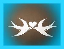 Twee vogels en hart van Martin Document knipsel Stock Foto