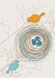 Twee Vogels en Nest vector illustratie