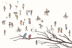 Twee vogels en partijen van uiterst kleine mensen vector illustratie