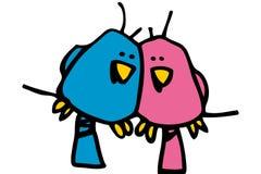 Twee vogels in liefde Royalty-vrije Stock Afbeeldingen