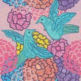 Twee Vogels ontmoeten Naadloos Patroon Stock Afbeeldingen