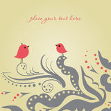 Twee vogels op de liefdedatum Stock Afbeeldingen