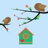 Twee vogels op de takken Stock Afbeeldingen