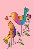 Twee vogels op een tak Stock Afbeeldingen