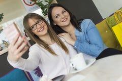 Twee volwassen het glimlachen meisjesfoto met een mobiele telefoon stock afbeelding