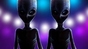 Twee vreemde tweelingen op achtergrond van lichtenruimteschip stock afbeelding