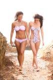 Twee Vrienden die in Bikinis tussen Rotsen bij Th lopen Stock Fotografie