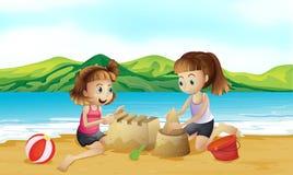 Twee vrienden die een kasteel maken bij het strand vector illustratie