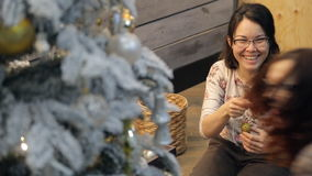 Twee vrienden die Kerstmisspeelgoed voorbereidingen treffen binnen te verfraaien stock videobeelden