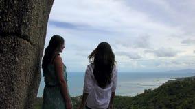 Twee vrienden die met een mening van het overzees op de achtergrond op vakantie spreken stock video