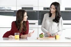 Twee vrienden die voedsel voorbereiden Stock Afbeeldingen