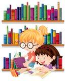 Twee vrienden het lezen vector illustratie