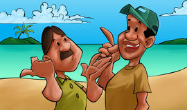 Twee vrienden het spreken Stock Foto's