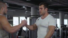 Twee vrienden kwamen in de gymnastiek samen stock video