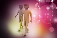 Twee vrienden lopen samen Royalty-vrije Stock Afbeeldingen