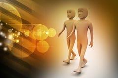 Twee vrienden lopen samen Stock Foto's