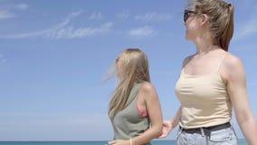Twee vrienden op het strand stock videobeelden