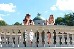 Twee vrienden in park Stock Afbeelding