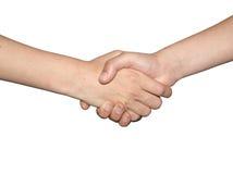 Twee vrienden schudden handen Stock Afbeeldingen