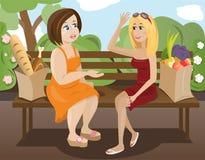Twee vrienden (slank en vet) stock illustratie