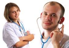 Twee vriendschappelijke artsen Royalty-vrije Stock Afbeeldingen