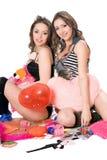 Twee vrij jonge meisjes. Geïsoleerde Royalty-vrije Stock Foto's