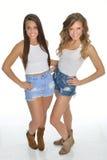 Twee vrij jonge vrouwen stellen in land westelijke uitrustingen stock afbeeldingen