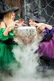 Twee vrolijke heksen met een pot voor een drankje, waarvan stoom Royalty-vrije Stock Foto's
