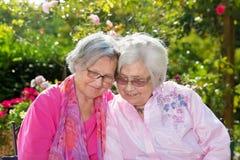 Twee vrolijke hogere vrouwen die in tuin omhelzen royalty-vrije stock fotografie