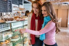 Twee vrolijke jonge vrouwen voor de showcase van moderne ca royalty-vrije stock foto