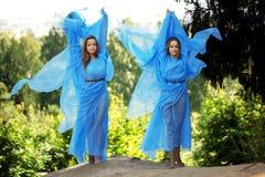 Twee vrouw, tweelingen in het bos Stock Foto's