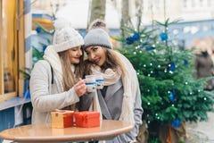 Twee vrouwelijke beste vrienden die overwogen wijn op Kerstmisdeco o drinken Royalty-vrije Stock Foto