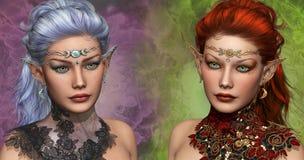 Twee vrouwelijke Elven stock illustratie