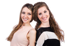 Twee vrouwelijke geïsoleerde vrienden Stock Fotografie