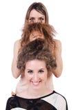 Twee vrouwelijke geïsoleerde vrienden Royalty-vrije Stock Fotografie